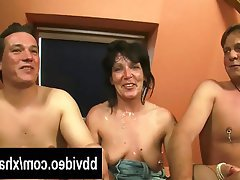 Blowjob Facial German MILF Threesome