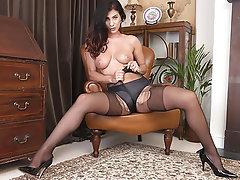 Brunette Masturbation Pantyhose Dildo Pantyhose