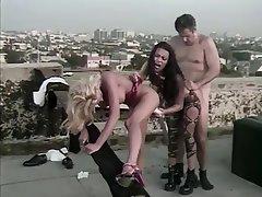 Blonde Brunette Outdoor Threesome