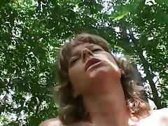 Brunette Granny Old and Young Outdoor POV